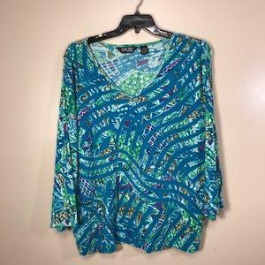 Tops - Take Two women's 3/4 sleeves print t-shirt, 3x
